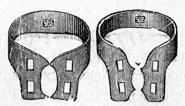 Fig. 3C. Gli uncini metallici disegnati dal Dr. Elliott (Da: Andrieu E.: Traité de Dentisterie Opératoire, Octave Doin Ed., Paris 1889).