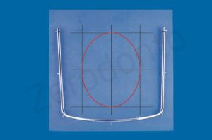In deciding where to punch the opening in the rubber sheet, one can mentally trace three vertical and three horizontal lines. The ellipse inscribed within the central rectangle corresponds to the two dental arches